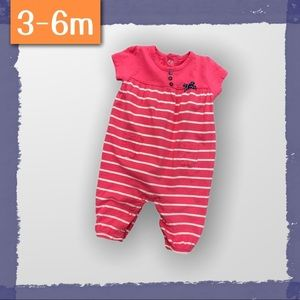 Cotton Baby Romper with Pink Stripes